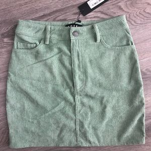 NWT Princess polly motel green corduroy mini skirt